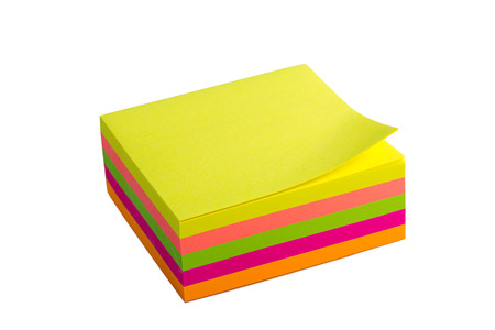 Five color block of post-it notes with clipping path