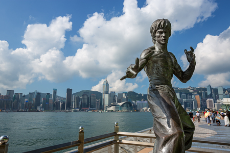 Hong Kong - August 4, 2015: Bruce Lee statue at the Avenue of Stars in Tsim Sha Tsui, Hong Kong, China