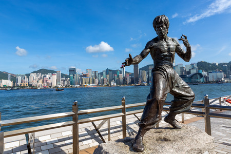 Hong Kong - June 26, 2014: Bruce Lee statue at the Avenue of Stars in Tsim Sha Tsui, Hong Kong, China