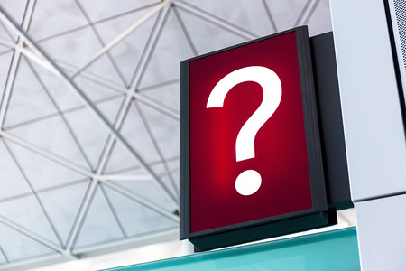 lightbox: Question mark sign Lightbox in the airport Stock Photo