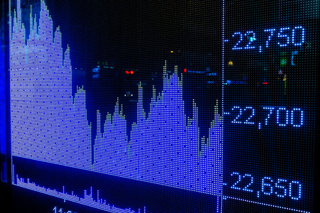 trading board: Display stock market index charts Stock Photo