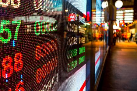 Hong Kong weergave beurs grafieken Stockfoto