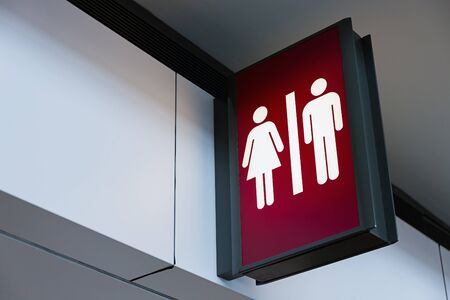 Restroom sign Lightbox in the airport Stock Photo