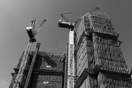 buildup: Construction site with crane and building on sky background (Black and White)