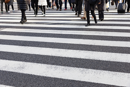 Busy pedestrian crossing at Tokyo
