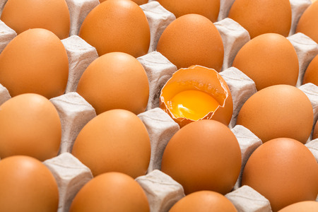 multiple objects: Cardboard tray filled with brown eggs, one egg is broken Stock Photo
