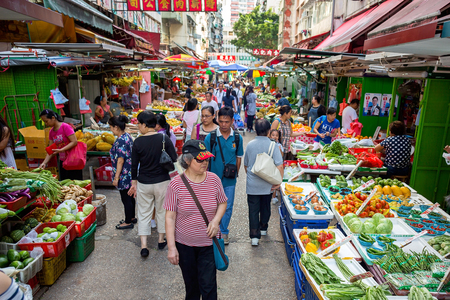 Hong Kong - May 30 2016: Yau Ma Tei Market is divided into two parts, one is located in Gansu Street refers to a multi-storey building, and the second refers to the historic downtown outdoor market..