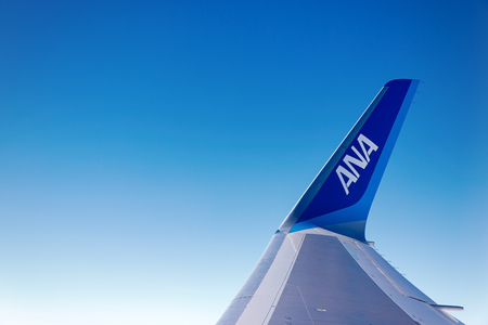 Tokyo, Japan-January 23 2017: ANA wing on sky. All Nippon Airways, is the largest airline in Japan