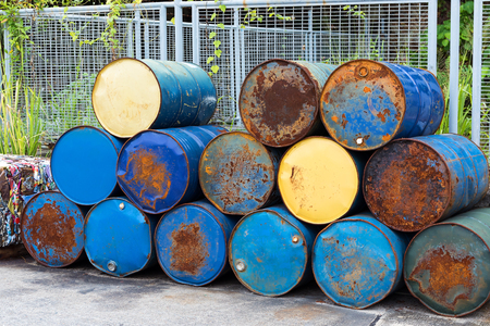 Barrels stack in row Stock Photo