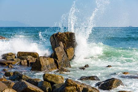 rudeness: Powerful Waves on a rocky beach