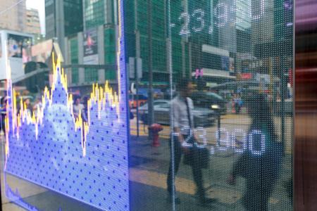Hong Kong mostrar gráficos del mercado de valores Foto de archivo - 78727660