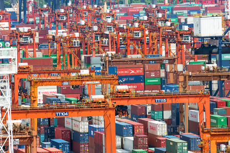 Lots of cargo freight containers in the Hong Kong