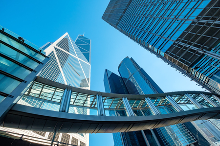 Hong Kong Corporate Buildings with perspective Stock Photo