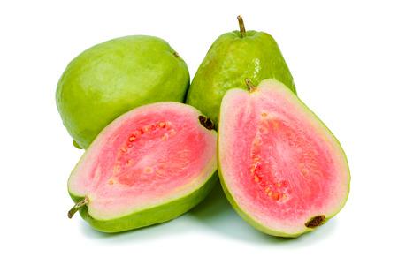 Ripe guava on white background 스톡 콘텐츠