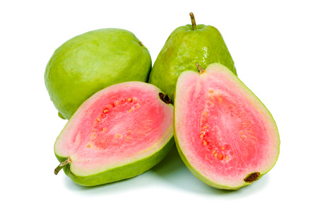 Ripe guava on white background Imagens
