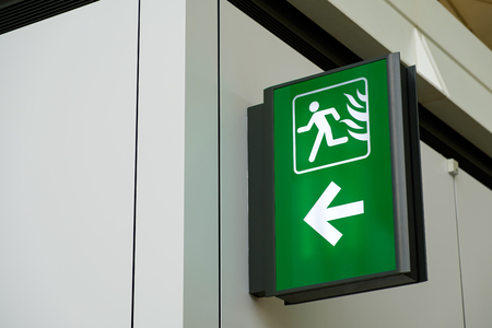 Fire Exit Sign Lightbox in the airport Archivio Fotografico