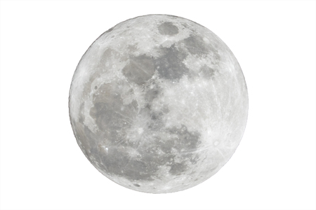 Full moon isolated over white background Foto de archivo