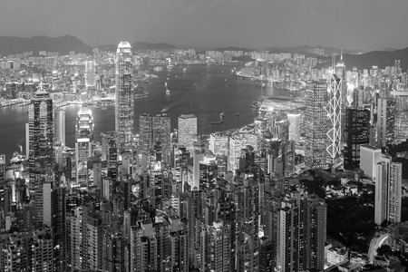 Hong Kong nght view (black and white) Stok Fotoğraf - 106866556