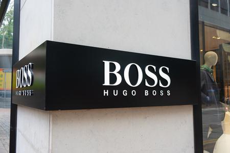 Tsim Sha Tsui, Hong Kong, China - April 09, 2019: Hugo Boss brand logo seen in Tsim Sha Tsui Hong Kong