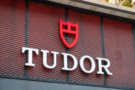 Tsim Sha Tsui, Hong Kong, China - April 09, 2019: Tudor brand logo seen in Tsim Sha Tsui Hong Kong