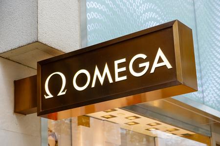 Tsim Sha Tsui, Hong Kong, China - April 09, 2019: Omega brand logo seen in Tsim Sha Tsui Hong Kong