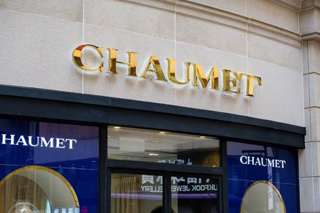 Tsim Sha Tsui, Hong Kong, China - April 09, 2019: Tsim Sha Tsui, Hong Kong, China - April 09, 2019: Chaumet brand logo seen in Tsim Sha Tsui, Hong Kong.