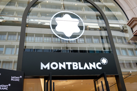 Tsim Sha Tsui, Hong Kong, China - April 09, 2019: Montblanc brand logo seen in Tsim Sha Tsui, Hong Kong.