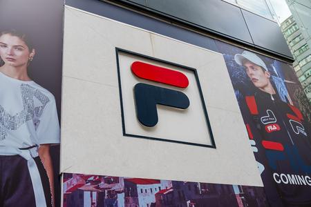 Tsim Sha Tsui, Hong Kong, China - April 09, 2019: Fila brand logo seen in Tsim Sha Tsui, Hong Kong.