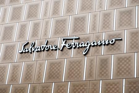 Tsim Sha Tsui, Hong Kong, China - April 09, 2019: Salvatore Ferragamo logo seen in Tsim Sha Tsui, Hong Kong.