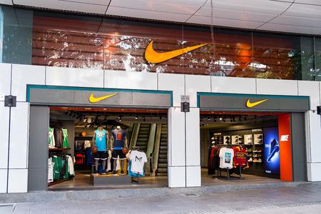 Tsim Sha Tsui, Hong Kong, China - April 09, 2019: Nike store seen in Tsim Sha Tsui, Hong Kong. Publikacyjne