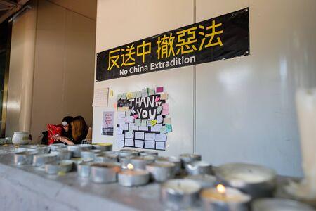 Wanchai, HONG KONG - June 21, 2019: Protest at Wanchai Hong Kong Police Headquarter. Protestors remembering the dead of protestor on June 15 2019.