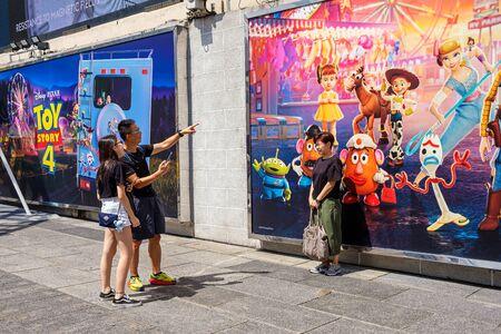 Hong Kong -July 26, 2019: Disney and Pixars Toy Story 4 movie backdrop display with cartoon characters Exhibition activity in Harbour city,Tsim Sha Tsui, Hong Kong