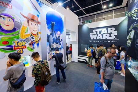 Hong Kong - July 30, 2019: Visitors are seen at Pixar Animation Studios Toy Story and star wars booth during the Ani-Com & Games event in Hong Kong.