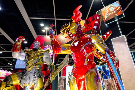 Hong Kong - July 30, 2019: Avengers ironman character model features 1:1 life-size statues in the 21th ACGHK2019 Ani-Com & Games event in Hong Kong.