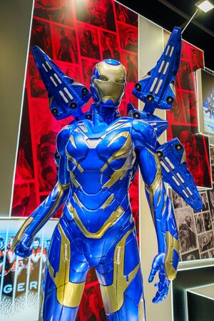 Hong Kong - July 30, 2019: Avengers RESCUE Armor character model features 1:1 life-size statues in the 21th ACGHK2019 Ani-Com & Games event in Hong Kong.