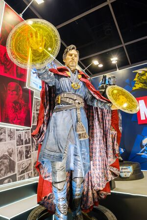 Hong Kong - July 30, 2019: Avengers 4 mvoie Doctor Strange character model features 1:1 life-size statues in the 21th ACGHK2019 Ani-Com & Games event in Hong Kong.