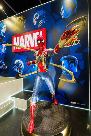 Hong Kong - July 30, 2019: Marvel movie backdrop display with Spider-man cartoon characters Exhibition activity the 21th ACGHK2019 Ani-Com & Games event in Hong Kong. Editorial
