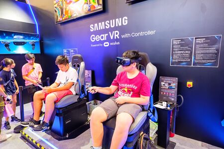Hong Kong - July 30, 2019: Visitors are seen playing a Samsung Gear VR the 21th ACGHK2019 Ani-Com & Games event in Hong Kong. Editorial