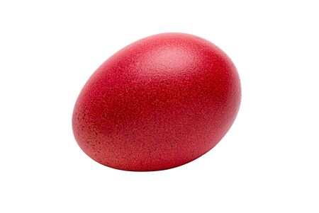 Red easter egg isolated white background
