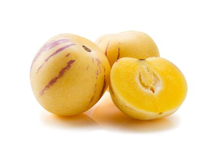 Solanum muricatum fresh fruit on white background Imagens