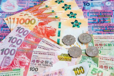 HongKong Dollar Money Banknote With Coins Imagens
