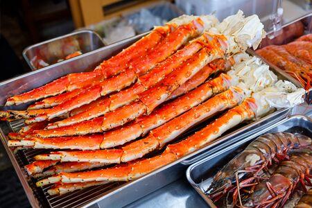 Close up Alaska King Crab legs in the Tsukiji Market Tokyo