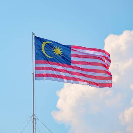 Jalur Gemilang Malaysia Flag On Sky