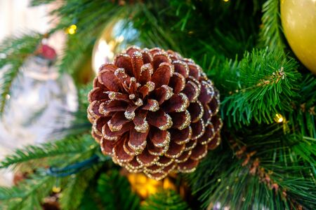 Pine Cones on Christmas tree background Standard-Bild