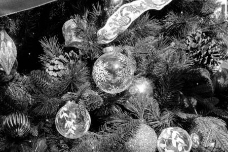 Closeup Christmas tree and decoration with ball background Black and White Imagens - 135951526