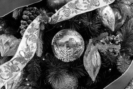 Closeup Christmas tree and decoration with ball background Black and White