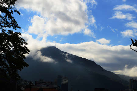 The tower on the mountain among the clouds.