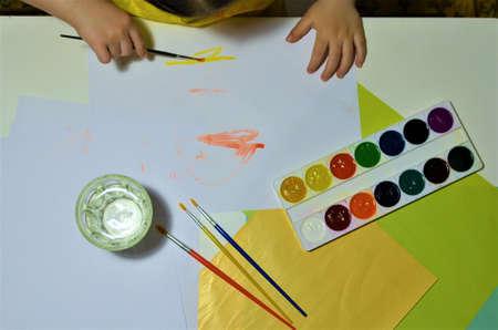 Childrens hands when drawing. Desktop. Hobby 写真素材