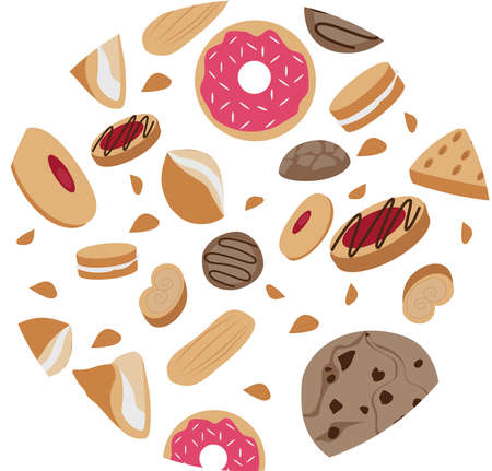 Cookies are different types in a circle