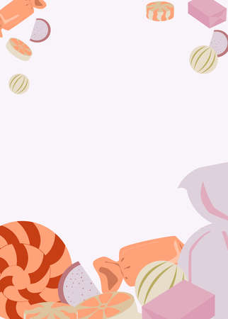 Candies. Chocolate filling, lollipops, marmalade, chocolate.  イラスト・ベクター素材